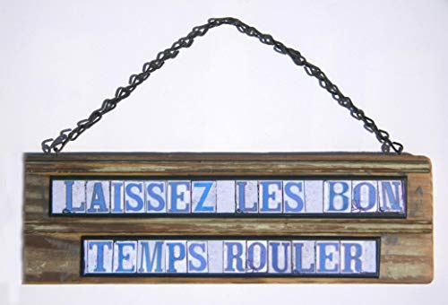 Laissez les bon temps rouler Street Tile Sign made from New Orleans street tile images and salvage recycled wood from Old New Orleans buildings.