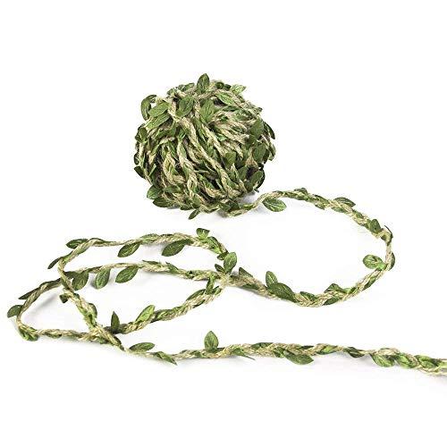 Soleebee 11 Yards Natural Hemp Jute Twine Burlap Green Leaf Trim Ribbon, Perfect Decorated Vine for DIY Craft Party Wedding Home Garden Decoration