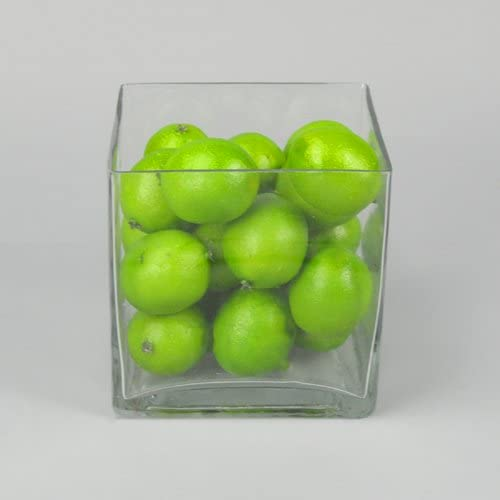 5×5 Small Square Cubic Glass Vase – Set of 6 Clear Cube Flower Vases – Votive Candle-Holder Centerpiece for Floating Candles