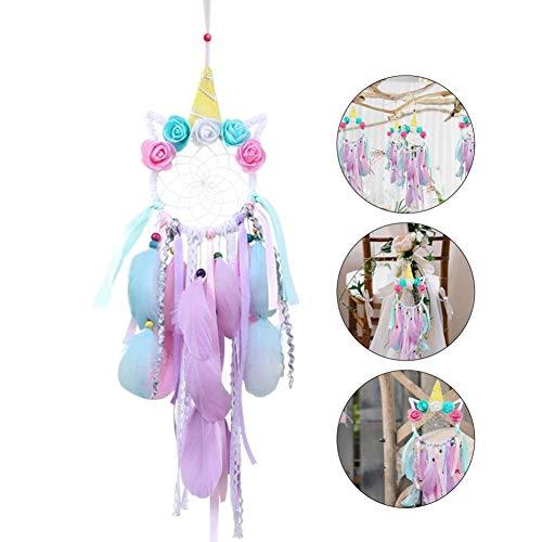 - iBaste Unicorn Dream Catcher - Wall Pendant Handmade Feather Children's Lace Wall Hanging Bedroom Decorating Kindergarten Ornament