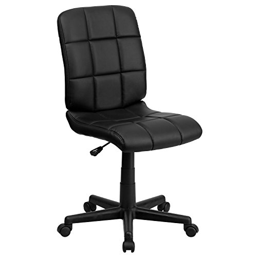 Flash Furniture Mid-Back Black Quilted Vinyl Swivel Task Chair - GO-1691-1-BK-GG