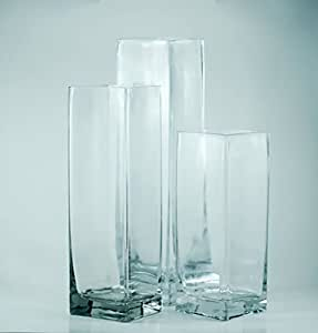 Amazon Com Tall Square Glass Vase Set Of 18 Perfect As