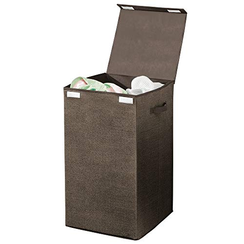 mDesign Large Laundry Hamper Basket with Hinged Lid and Attached Handles - Portable and Foldable for Compact Storage - Single Hamper Design, Textured Print - Espresso Brown