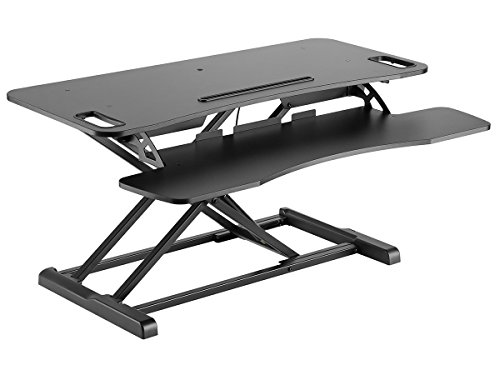 Monoprice Height Adjustable Gas Spring Sit Stand Riser Desk Converter – Black, 37 Inch Table Top Dual Monitor Workstation| Easy To Use, Compatible With Most Desks Review