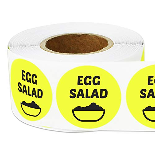 1 Roll - Food Labels: Egg Salad Label for Meat Markets, Supermarkets, Food Labeling or Butchers Yellow 2