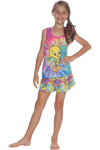 Looney Toons Tweety Bird - Looney Tunes Girls' Little Looney Toons Tweety Racerback Pajama Short Set, Multi, 6/6X