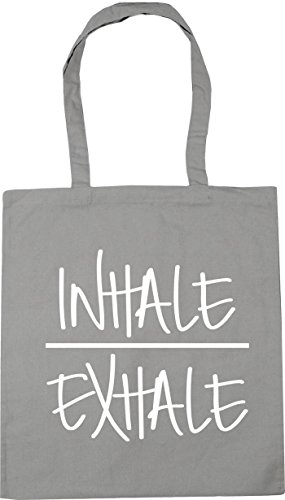 Grey litres Light Shopping Beach Inhale x38cm Exhale and Gym 10 Tote 42cm HippoWarehouse Bag 64ZqPOaP