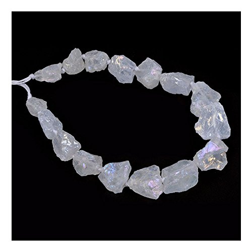 Aqua Aura White Clear Quartz Crystal Nugget Raw Graduated Beads Strand 2mm Hole Drilled