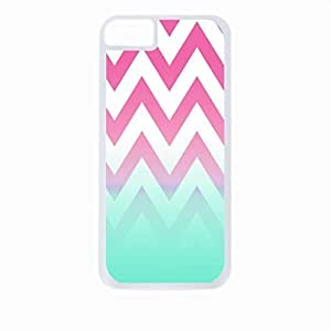 Pink Chevron with Blue Fusion Colorblock- Case for the Apple Iphone 4-4s Universal-Hard White Plastic Outer Shell with Inner Soft Black Rubber Lining