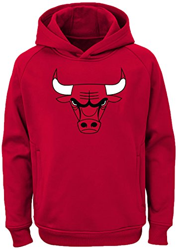 Outerstuff NBA Youth Team Color Performance Primary Logo Pullover Sweatshirt Hoodie (Medium 10/12, Chicago Bulls) (Chicago Bulls Sweatshirt)