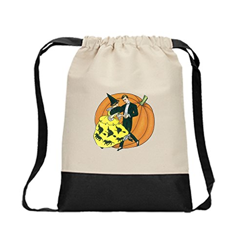 Canvas Backpack Color Drawstring Dancing Couple And Pumpkin By Style In Print | Black by Style in Print