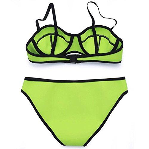 Traje de baño de moda neopreno bikini traje de baño partido traje de baño de playa traje de baño Verde