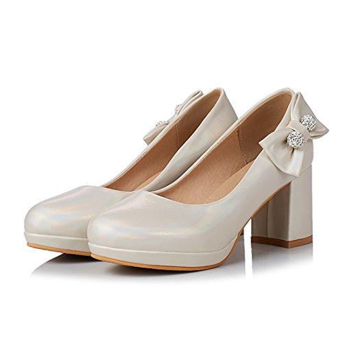 Elegantes Bout a UH Compensees Haut Noeuds Femmes Rond avec Chaussures Beige Talon Papillon Simple de zqYOU