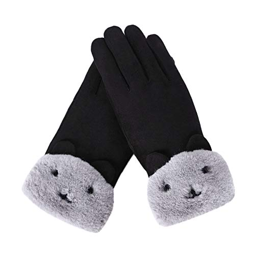 URIBAKE Women's Thermal Gloves Adorable Design Screen Touch