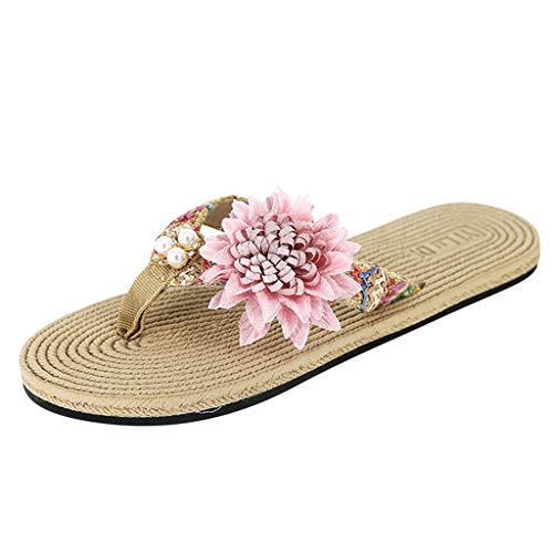 HHei_K Ladies Clip-Toe Beach Shoes Summer Pearl Fashion Flowers Flat-Bottomed Slippers,Shoes for Women Flats Comfortable Pink]()