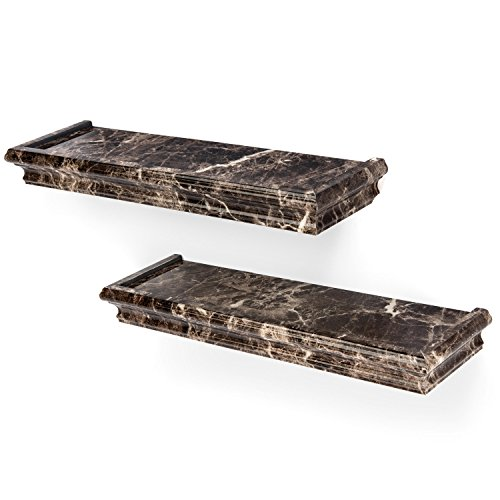 Better Homes and Gardens Picture Ledge Set - Spruce Up Any Room With Elegant Floating Shelves - Easily Install Your Wall Shelves in Minutes - Exclusive Brown Marble Finish from Better Homes & Gardens