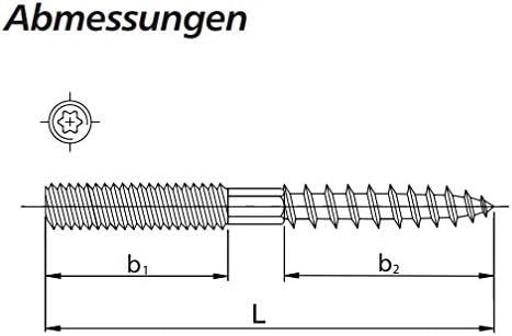 M10x100mm BIS Stockschraube BUP mit Torx-Kopf 10 Stück