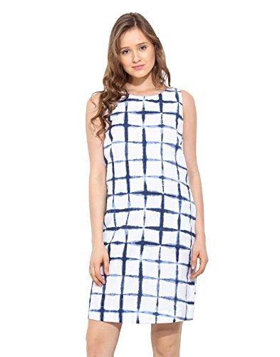 Saiesta Womens Checkered A-Line White Tie Dye Summer Shift Dress Medium