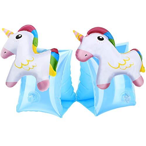 MoKo Inflatable Swim Floater Sleeves for Kids, Cartoon Swimiming Armbands Floaties Water Wings Floatation Sleeves, Pool Water Sports Learning Swim Training Aids, Unicorn