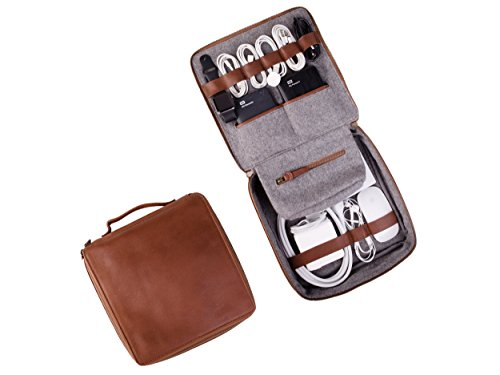 Dwellbee Travel Electronic Accessories and Cable Organizer, Large (Buffalo Leather, Brown)