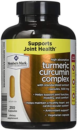 Members Mark High Absorption Turmeric Curcumin Complex with Standardized Extract Capsules, 500mg 1 bottle 250 capsules