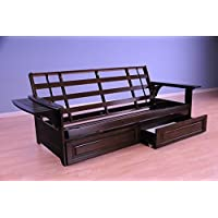 Pheonix Futon Frame Only Hardwood w/ Option to Add Drawer Set, Oak, Espresso or White Finish (Frame and Drawer set Espresso Finish)