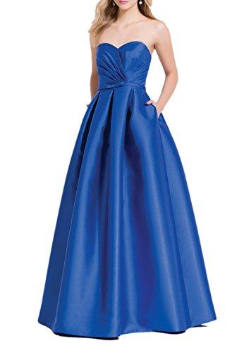 Royal Blau A Traegerlos Brautjungfernkleider Einfach Damen Lang Linie Festlichkleider Partykleider Satin Abendkleider Charmant PxCHAwqUP