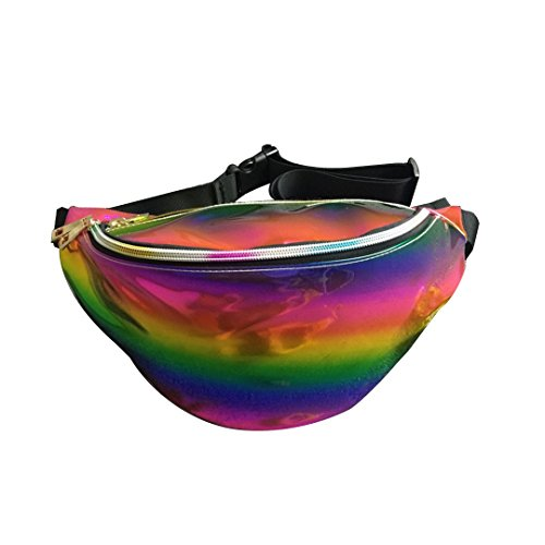 Price comparison product image Flada Women's Waist Bag PVC Holographic Laser Bumbag Hiking Waist Packs Multicolour