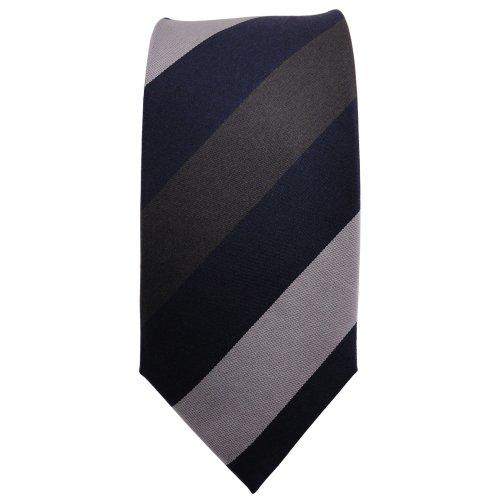 étroit TigerTie cravate en soie bleu anthracite argent rayé - cravate en soie