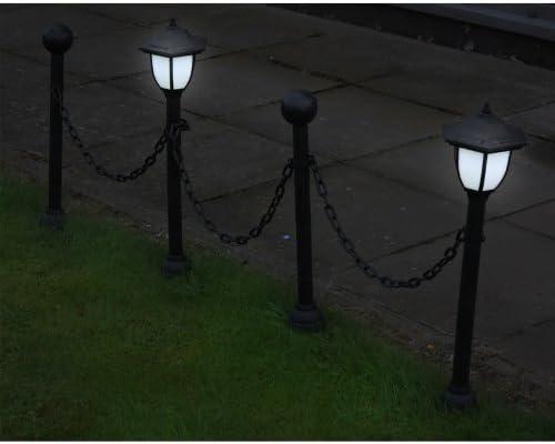 Skippys-Garten 2 x jardín solar lámpara & Cercado (Set – Solar poste/lámpara de pie 2 x Farolillo solar con estaca LED: Amazon.es: Jardín