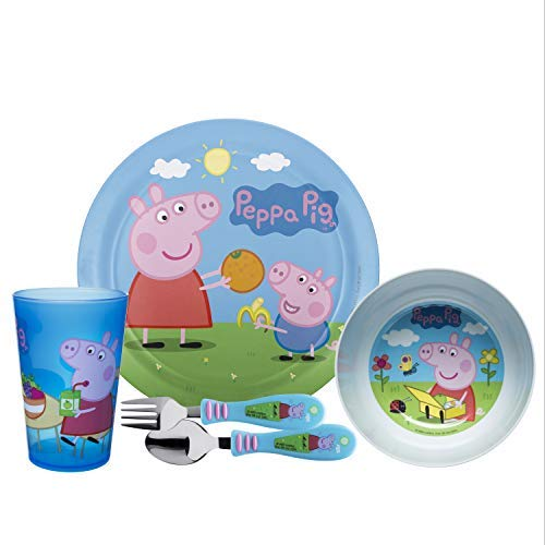 (Zak Designs PEPE-5480-AMZ Nick Jr. Dinnerware Includes Plate, Bowl, Tumbler and Utensil Tableware, Made of Durable Material and Perfect for Kids (George Pig, 5 Piece Set, BPA-Free), Peppa 5pc)