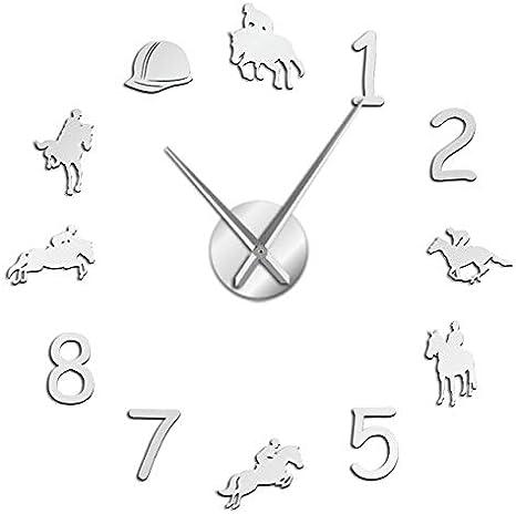 HIDFQY Reloj de Pared Ecuestre Gran casa de Campo decoración del hogar Vaquero diseño Moderno Reloj de Pared Gigante aro a Caballo DIY Pared gráfico 37 Pulgadas Plata