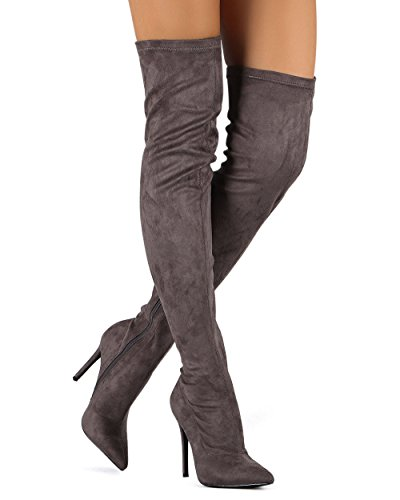 Liliana DB54 Women Suede Pointy Toe Thigh High Single Sole Stiletto Boot - Grey (Size: (Single Sole Boot)