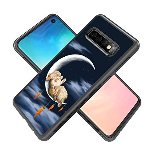 Samsung Galaxy S10 Customized Phone Case TPU Hard Shell Silicone All Edges Shockproof Protective Cover with Fashion Rabbit Pattern (Black)