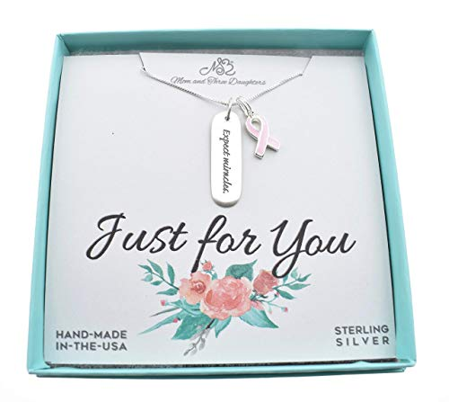(Expect Miracles Charm & pink enameled ribbon necklace in sterling silver on an 18 sterling silver box chain. Motivational necklace. Cancer Jewelry. Breast Cancer. 18 Box Chain.)