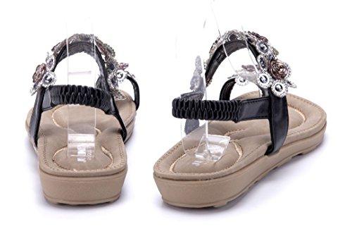 Schuhtempel24 Damen Schuhe Zehentrenner Sandalen Sandaletten Flach  Ziersteine Blumenapplikation Schwarz ... 70dc846e17