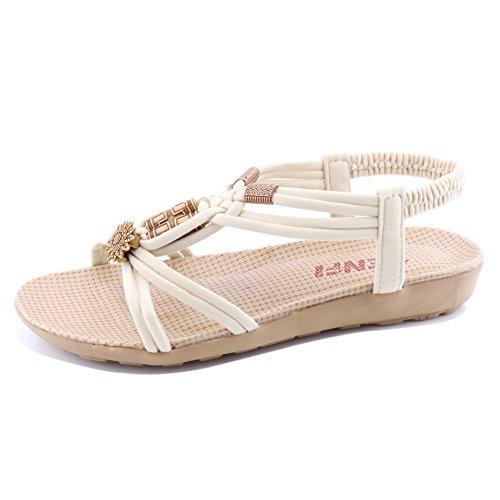 SENFI Women Summer Bohemia Elastic Strappy String Sandals,WSF01,Beige,42