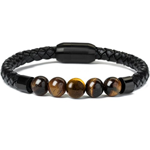 Ckysee Tiger Eye Bracelets for Men Magnetic Clasp Beaded Genuine Rope Leather Bracelet Boy's Gifts