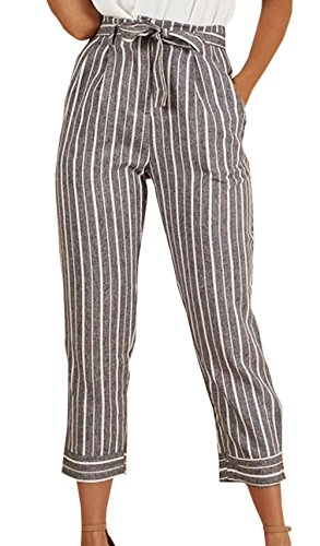 Taille Femmes Neuf Bandage Freestyle Fashion Pants Haute Avec Gris Casual Slim Rayée Trousers Jeune Pantalons Points YdwwSfq
