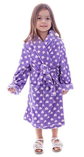 Simplicity Big Girls' Heart Velvet Fleece Shawl Robe Bathrobe w/ (Girls Robe)