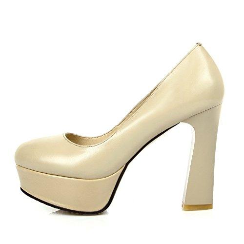 Amoonyfashion Femmes Bout Rond Fermé-orteil Talons Hauts Pompes-chaussures Et Plate-forme Nue