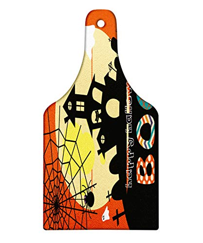 Lunarable Halloween Cutting Board, Haunted House with Cat Tombstones Ghosts and Spider Webs Happy Halloween Boo, Decorative Tempered Glass Cutting and Serving Board, Wine Bottle Shape, Multicolor]()