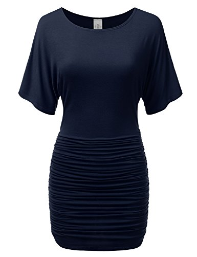 Buy cheap dressis womens waist side ruched pleated mini dress navy