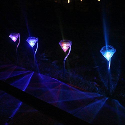 Price comparison product image Solar Outdoor Garden Lights,  4-Pack Stainless Steel Solar-Powered Color Changing LED Landscape Pathway Lights with Elegant Diamond Cut Design for Garden,  Walkway and Landscape Lighting (Multicolor)