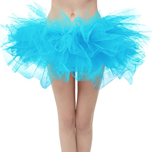 Dresstore Women's Vintage 5 Layered Tulle Tutu Puffy Ballet Bubble Skirt Blue Plus Size -
