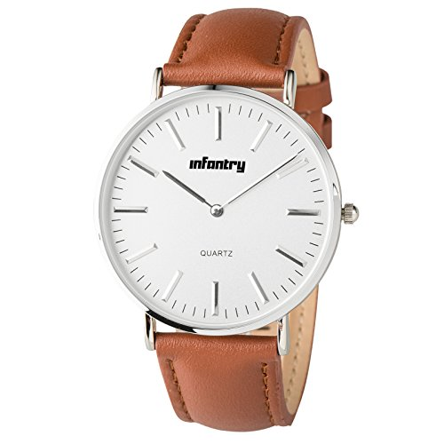 INFANTRY Mens Brown Leather Watch Business Dress Wrist Watches for Men Simple (Dress Leather Wrist Watch)