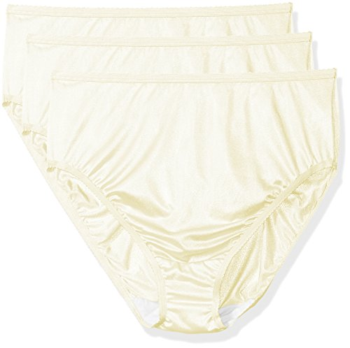 Shadowline Women's Plus-Size Panties-Hi Cut Nylon Brief (3 Pack), Ivory, 9 - Brief Nylon High Cut Panties