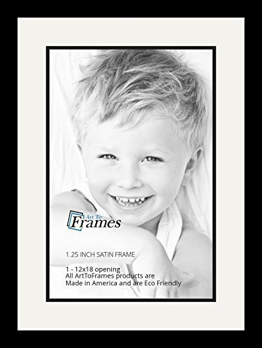 ArtToFrames Collage Photo Frame Double Mat with 1-12x18 Openings with Satin Black Frame and Porcelain mat.