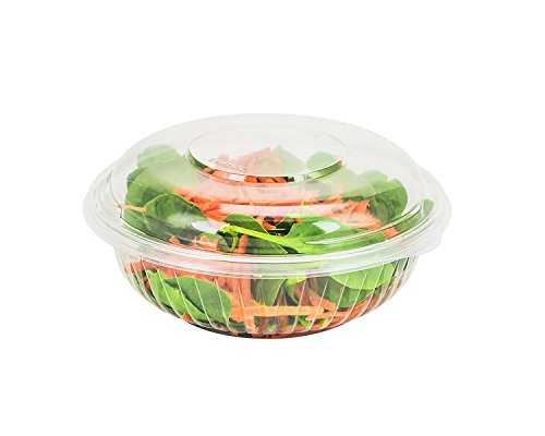 Dart C24BCD, 24-Ounce PresentaBowls Clear Plastic Bowl with Clear Dome Lid, Serving/Catering Take Out Salad Deli Bowls, Carry Out Food Containers ()