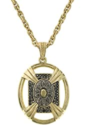 Silver and Gold Tone Large Oval Pendant 32